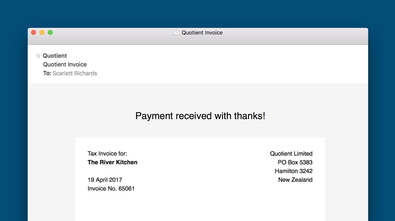 Quotient Invoice Email