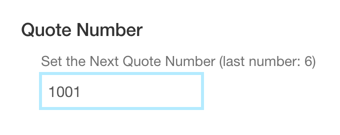Set the Next Quote Number