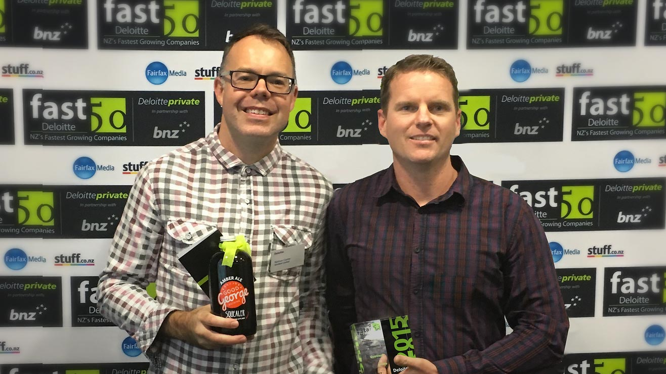 Your Quotient developers, Nathan Carter and Dale Vink, after accepting the Deloitte Fast 50 Rising Star regional category award.