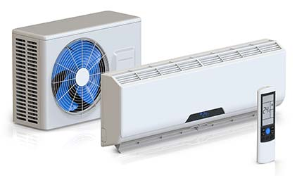 Outdoor and indoor heat pump units with remote control for HVAC system