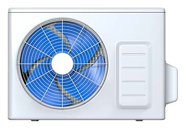 Spinning fan on outdoor heat pump unit, part of a modern HVAC system