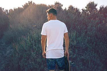 Male White T-shirt Back