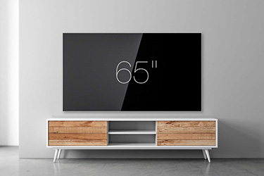 "65"" wall-mounted TV"