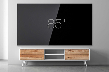 "85"" wall-mounted TV"