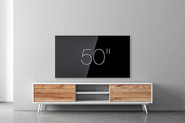 "50"" wall-mounted TV"