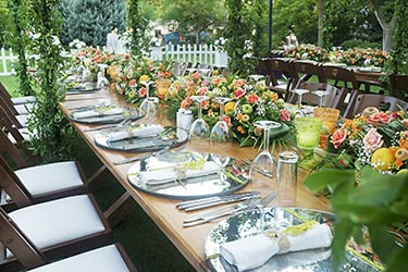 Elegant, clean, botanical table setting for outdoor event