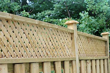 Close up of timber trellis top boundary fencing