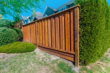 Rich brown stained timber fence on boundary of high end property