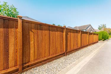 Beautiful warm wood stain on timber shiplap boundary fence