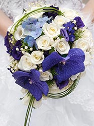Violet and white bridal bouquet