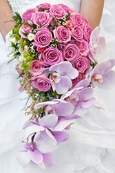 Wedding bouquet in bright pink