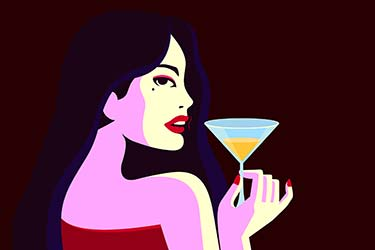 Retro 2D illustration of glamourous woman holding martini