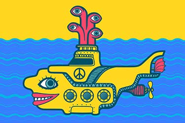 Psychedelic illustration of yellow submarine under water