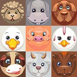Modern cartoon illustrations of farm animals in grid