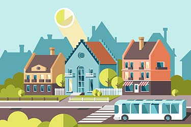 Isometric illustration of sunny neighbourhood with bus in foreground and cityscape in background