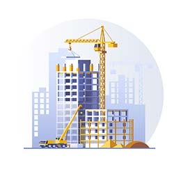 Isometric cartoon of construction site with cranes in cityscape illustration