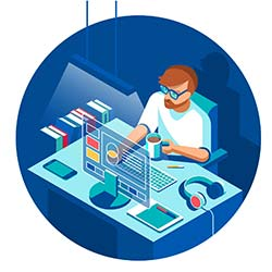 Isometric illustration of man working on modern computer, surrounded by books and technology
