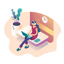 Modern illustration of woman working on laptop and listening to music with isometric elements