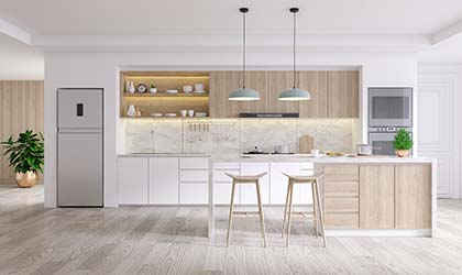 Clean and modern custom kitchen design and remodelling