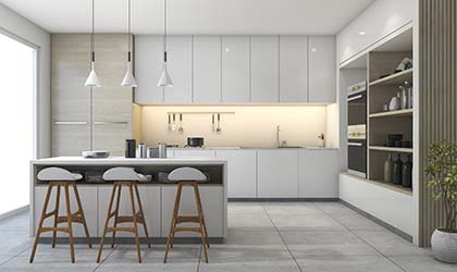 Bright, monochromatic, remodelled kitchen with tasteful decor throughout