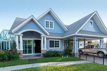 Stunning exterior paint job on stylish suburban home