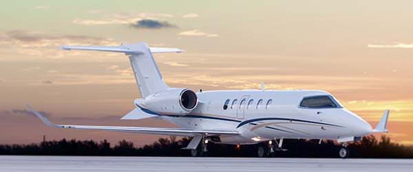 Midsize jet ready for takeoff