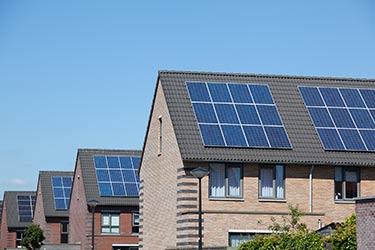 Solar panels on townhouses