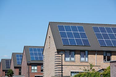 Solar panels on townhouses